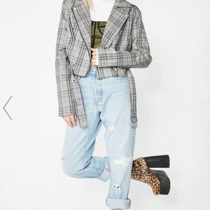 Honey Punch Plaid Moto Jacket New With Tags